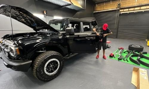 One Source Media in Queens NYC installs  truck wrap on a 2021 Ford Bronco 1