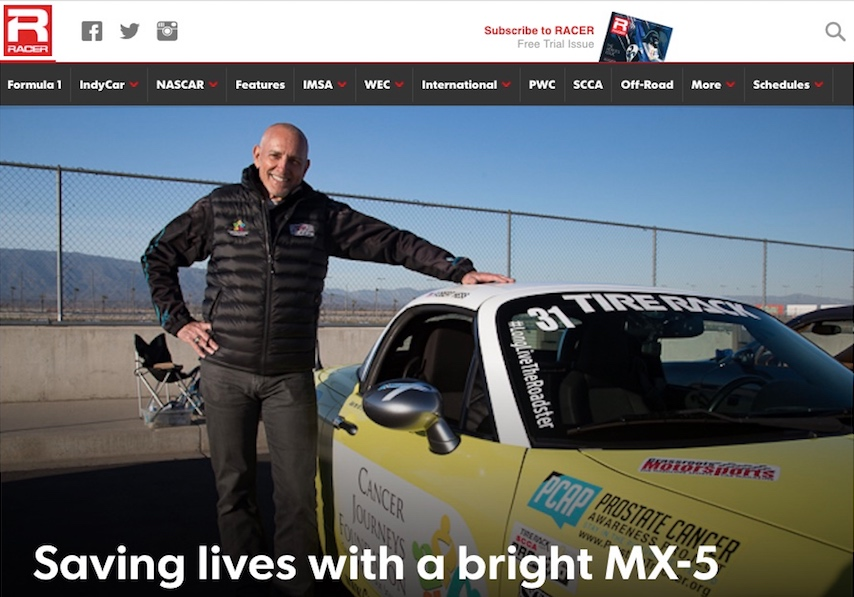 Cancer Journeys Foundation CEO Robert Hess with the Mazda Miata he uses for cancer awareness at autocross events