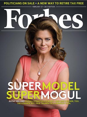 Forbes magazine cover of CEO Kathy Ireland by celebrity photographer Michael Grecco. Source: Forbes.com