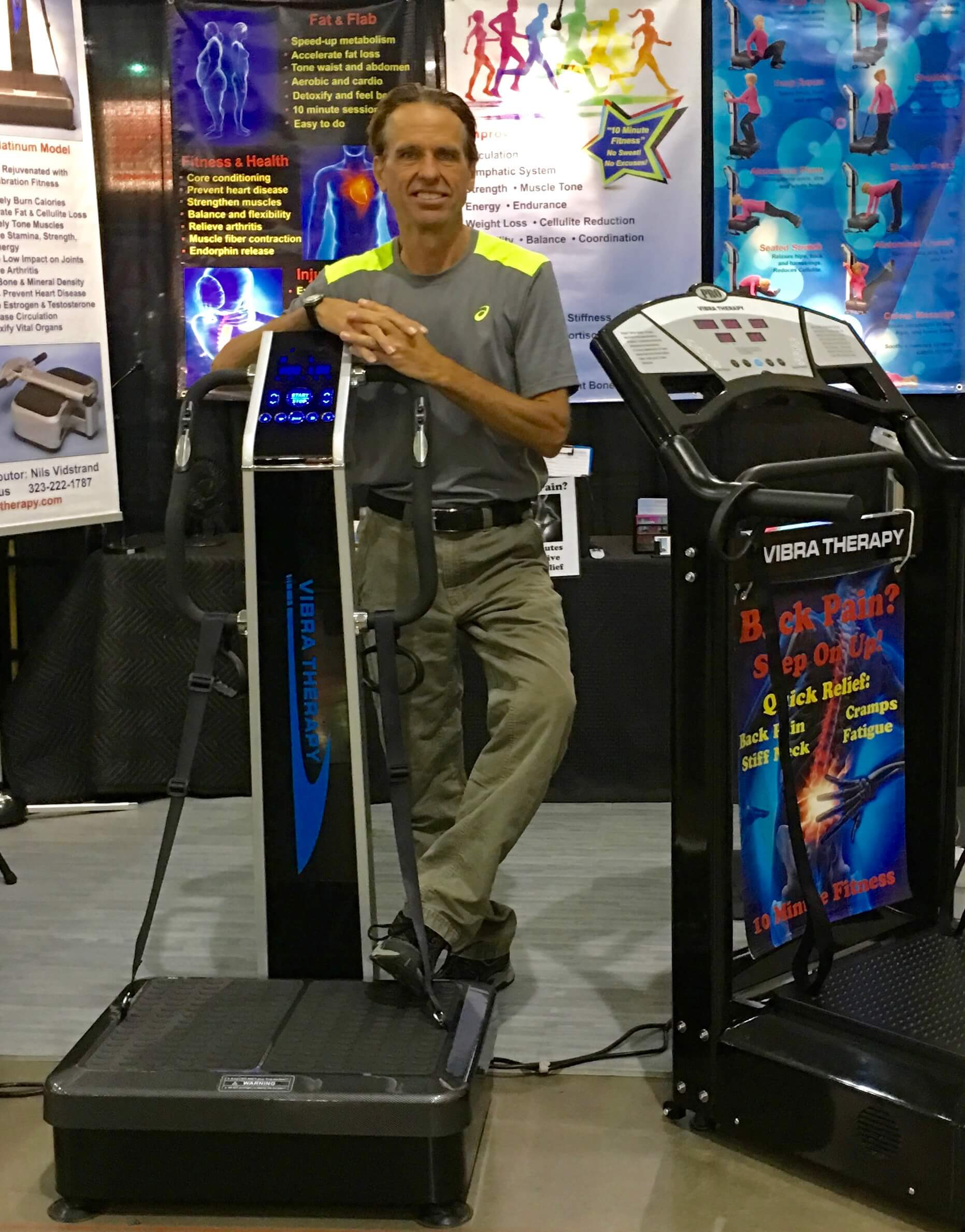 Nils Vidstrand of Vibrate Fitness demonstrates vibration exercise machines for the  Maricopa Home and Garden Expo in Phoenix.