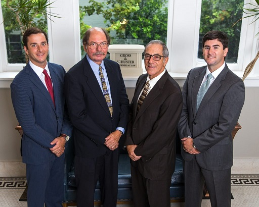 """Personal Injury Lawyers in Milton from left to right: Tyler Gross, Charles Schuster, Terence Gross, and Marcus """"Rhett"""" Gross"""