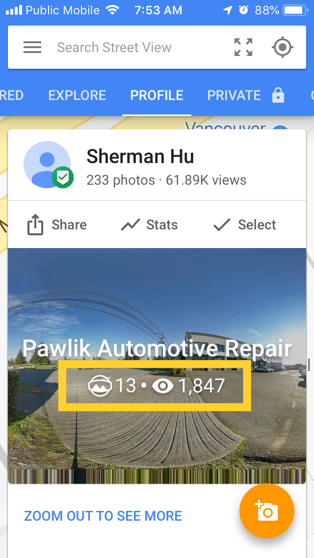 Pawlik Automotive Repair Profile In Google Street View App