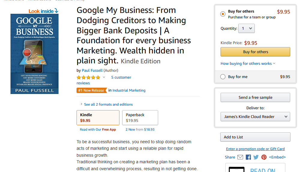 New Book Google My Business Makes # 1 Best Seller and New Release – Press Release