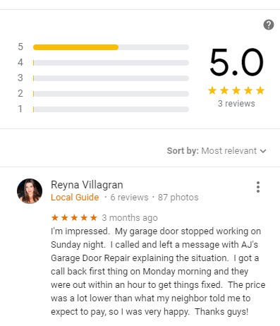 5 star customer review on Google for AJ's Garage Door Service