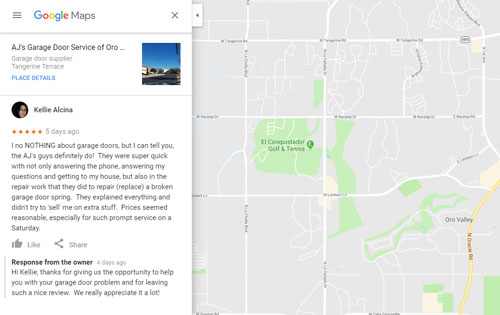 AJs Garage Door Service of Oro Valley gets another great review