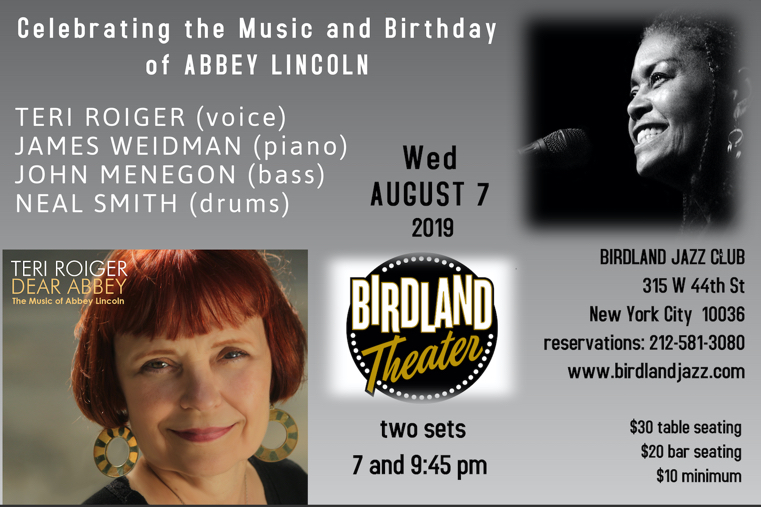 Teri Roiger Abbey Lincoln Tribute Birdland Theater NYC Wednesday August 8, 2019
