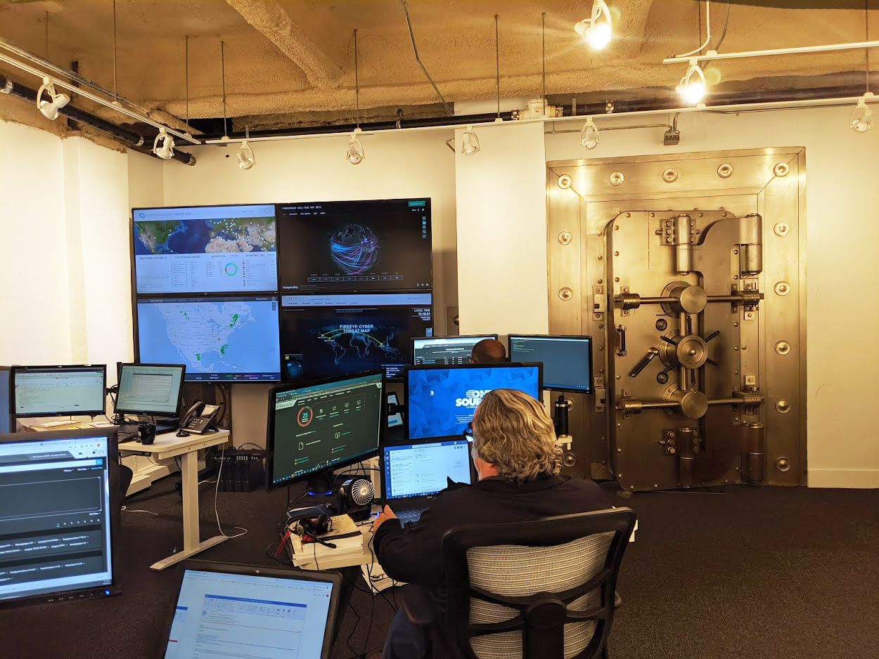 A corner of One Source's Raleigh Security Operations Center